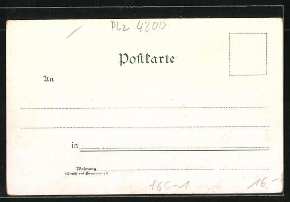 Lithographie Oberhausen, Bahnhof, Ortspartie, Totalansichten mit Fabrikschloten 1