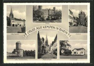 AK Kempen / Rhein, Bahnhof, Peterstrasse, Burg, Am Markt