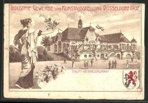 AK Düsseldorf, Industrie-, Gewerbe & Kunstausstellung 1902, Haupt-Weinrestaurant