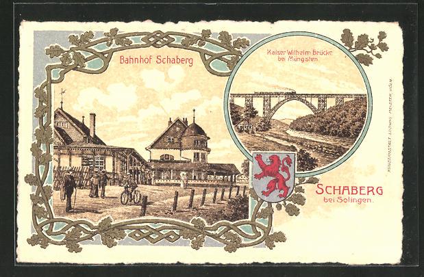Lithographie Schaberg, Bahnhof, Kaiser Wilhelm Brücke 0