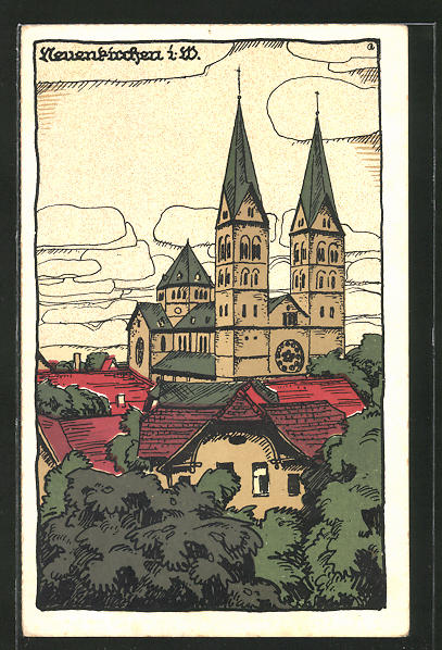 Steindruck-AK Neuenkirchen / W., Ortsansicht 0