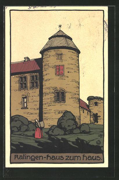 Steindruck-AK Ratingen, Haus zum Haus 0
