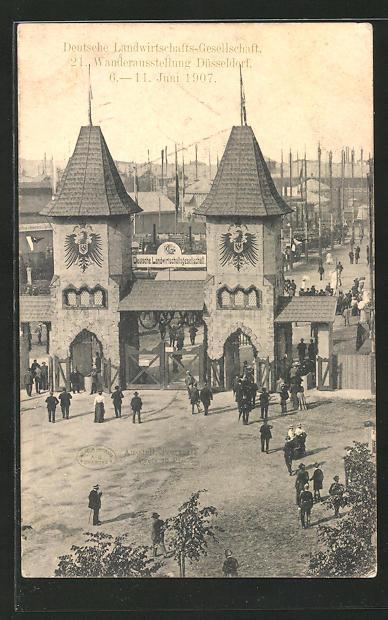 AK Düsseldorf, 21. Wanderausstellung der Deutschen Landwirtschaftsgesellschaft 1907, Messegelände 0