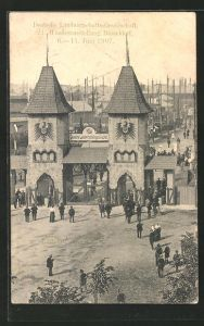 AK Düsseldorf, 21. Wanderausstellung der Deutschen Landwirtschaftsgesellschaft 1907, Messegelände