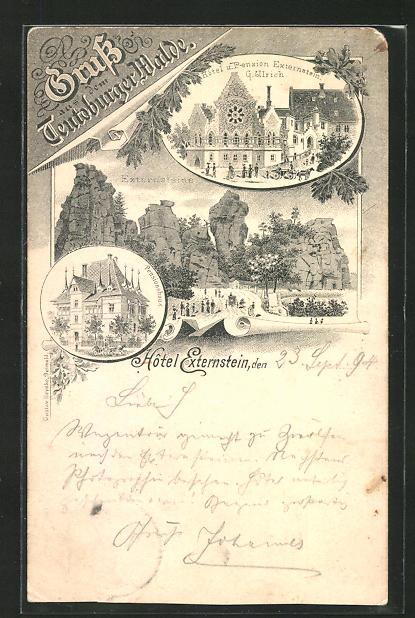 Vorläufer-Lithographie Horn / Lippe, 1894, Pensionshaus, Hotel-Pension Externsteine 0