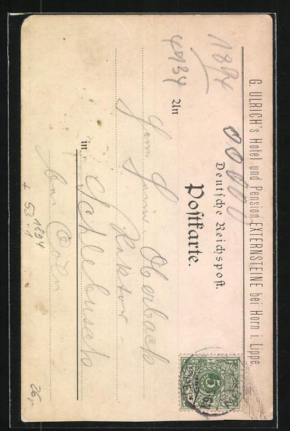 Vorläufer-Lithographie Horn / Lippe, 1894, Pensionshaus, Hotel-Pension Externsteine 1