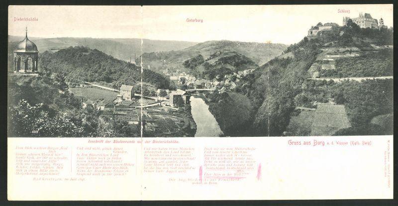 Klapp-AK Solingen-Burg, Diederichsburg, Unterburg, Schloss 0