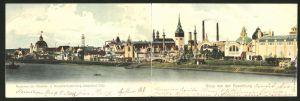 Klapp-AK Düsseldorf, Gewerbe & Industrie-Ausstellung 1902, Panorama