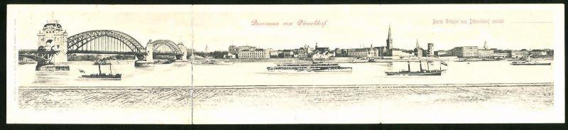 Klapp-AK Düsseldorf, Panorama, Dampfer 0