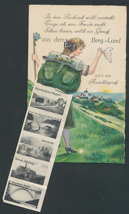 Leporello-AK Solingen, Mädchen mit Rucksack winkt zum Abschied, Schloss Burg, Beyenburg a. d. Wupper, Unterburg 0