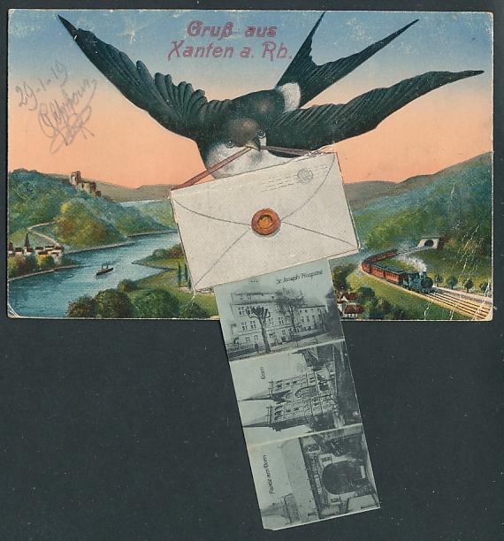 Leporello-AK Xanten a. Rh., Schwalbe mit Brief fliegt über d. Rhein, Clever Tor, Gothisches Haus, Blick z. Dom, Hospital 0