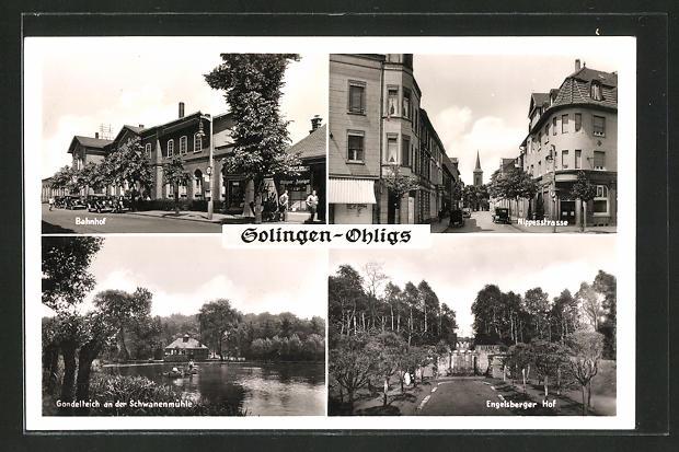 AK Solingen-Ohligs, Bahnhof, Nippestrasse, Gondelteich an der Schwanenmühle, Engelsberger Hof 0