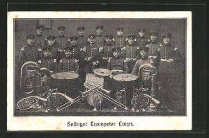 AK Solingen, Musikkapelle Trompeter Corps mit Instrumenten