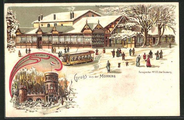 Winter-Lithographie Duisburg, Gasthaus Monning und Aussichtsturm auf dem Kaiserberg 0