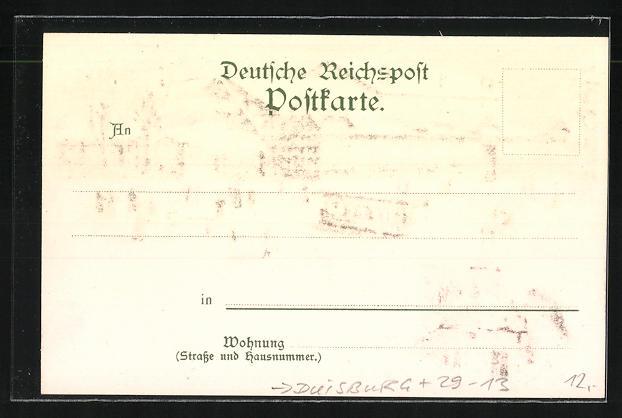 Winter-Lithographie Duisburg, Gasthaus Monning und Aussichtsturm auf dem Kaiserberg 1