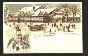 Winter-Lithographie Duisburg, Gasthaus Monning und Aussichtsturm auf dem Kaiserberg