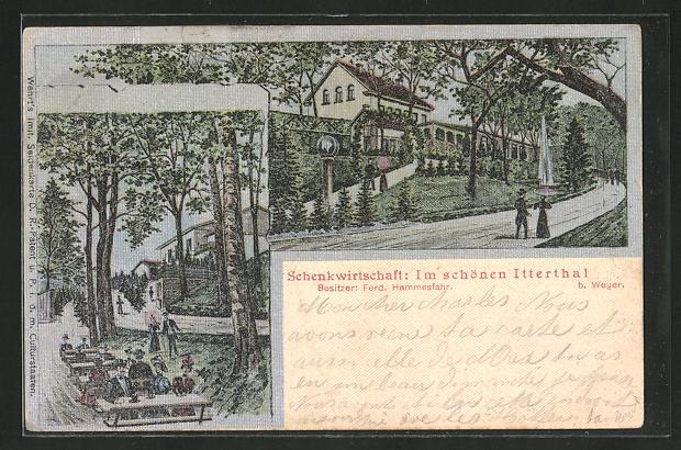 Seiden-Imitations-AK Solingen-Wald, Gasthaus Schenkwirtschaft im schönen Itterthal von Ferd. Hammesfahr 0