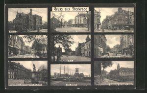 AK Sterkrade, Kohle-Zeche Sterkrade, Rathaus, Bahnhofstrasse, Hüttenstrasse, Marktstrasse, Markt, Steinbrinkstrasse