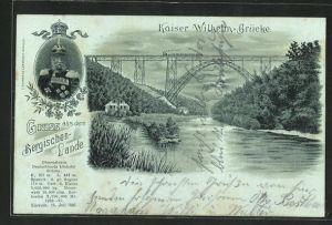Mondschein-Lithographie Müngsten, Kaiser Wilhelm Brücke mit Portrait vom Kaiser