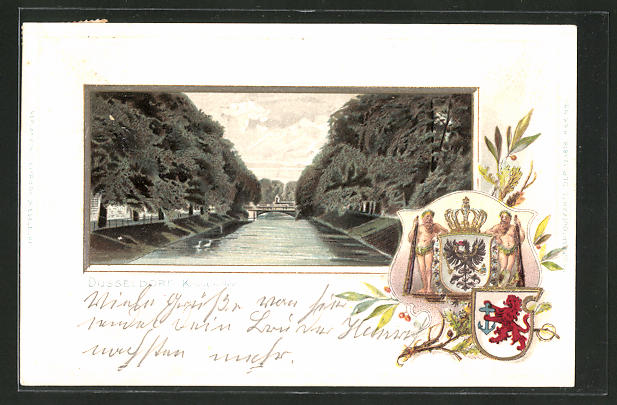 Passepartout-Lithographie Düsseldorf, Flusspartie an der Königsallee mit Brücke & Wappen 0