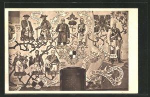 AK Solingen, Stammbaum der Landesherren im Ahnensaal, Schlossbau-Verein zu Burg, Schlossmalerei