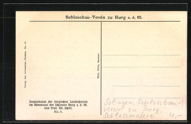 AK Solingen, Stammbaum der Landesherren im Ahnensaal, Schlossbau-Verein zu Burg, Schlossmalerei 1