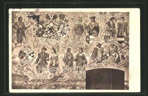 AK Solingen, Stammbaum der bergischen Landesherren im Ahnensaal, Schlossbau-Verein zu Burg, Schlossmalerei