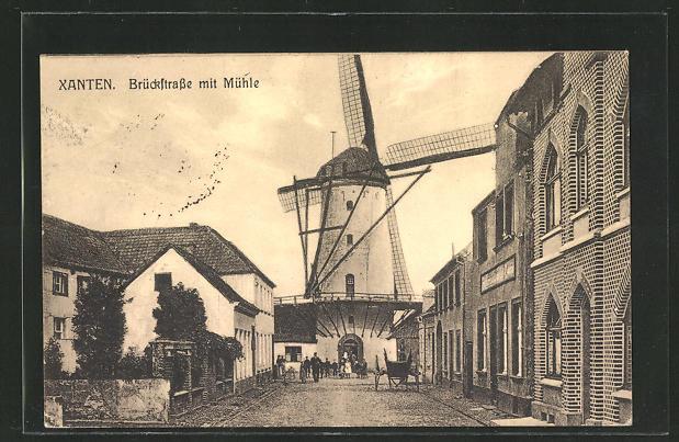 AK Xanten, Brückstrasse mit Windmühle 0