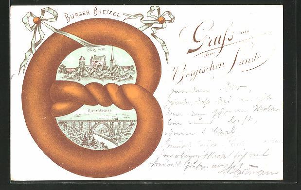 Passepartout-Lithographie Solingen, Burg a. W. und Riesenbrücke in einer Burger Bretzel
