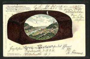 Passepartout-Lithographie Porta Westfalica, Ortsansicht im Pumpernickel