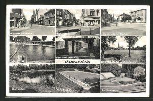 AK Wattenscheid, Westenfelderstrasse, Oststrasse, Hochstrasse m. Postamt, Freibad, Partie a. Ehrenmal, Rollschuhbahn