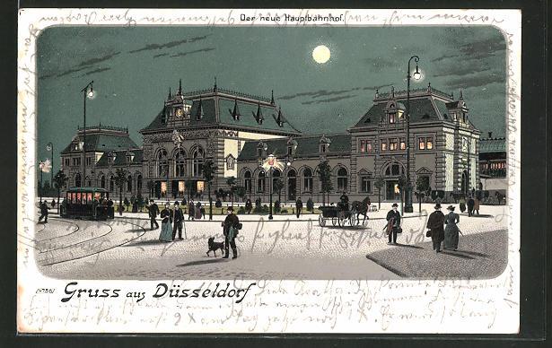 Lithographie Düsseldorf, Partie am Bahnhof im Mondschein 0