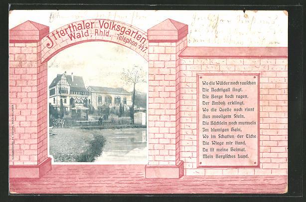 AK Solingen-Wald, Gasthaus Itterthaler Volksgarten 0