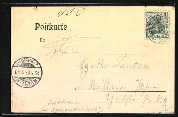 AK Solingen-Wald, Gasthaus Itterthaler Volksgarten 1