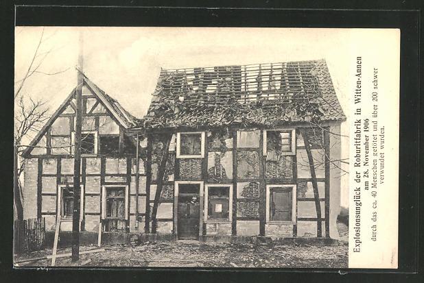 AK Witten-Annen, Explosion der Roburitfabrik 1906, zerstörte Häuser 0