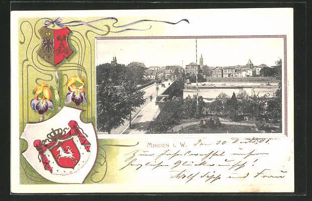 Passepartout-Lithographie Minden i. W., Ortspartie mit Brücke, Wappen