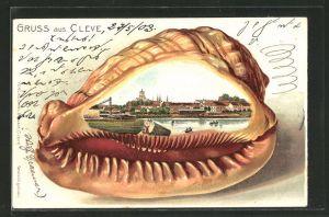Passepartout-Lithographie Kleve, Ortsansicht in der Muschel