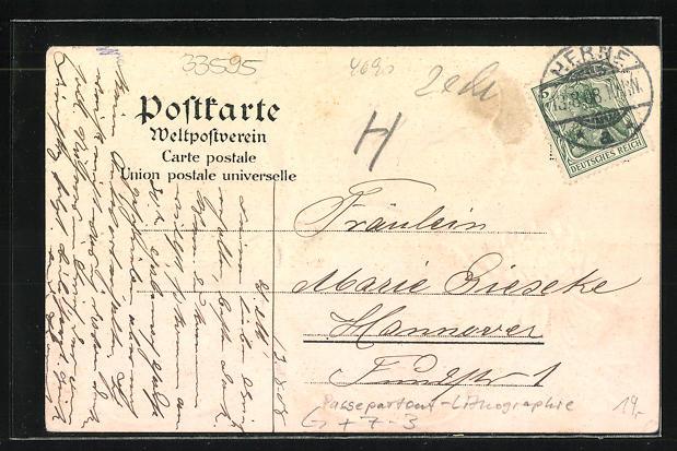 Passepartout-Lithographie Herne, Bahnhof, Bahnhofstrasse, Schloss Strünkede und Kohlenzeche Shamrock im Kleeblatt 1