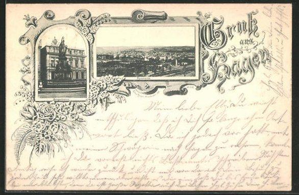 Vorläufer-AK Hagen, 1893, Panoramablick und Kriegerdenkmal 0