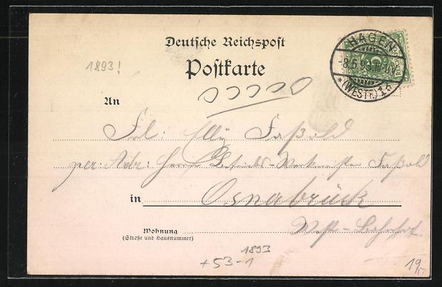 Vorläufer-AK Hagen, 1893, Panoramablick und Kriegerdenkmal 1