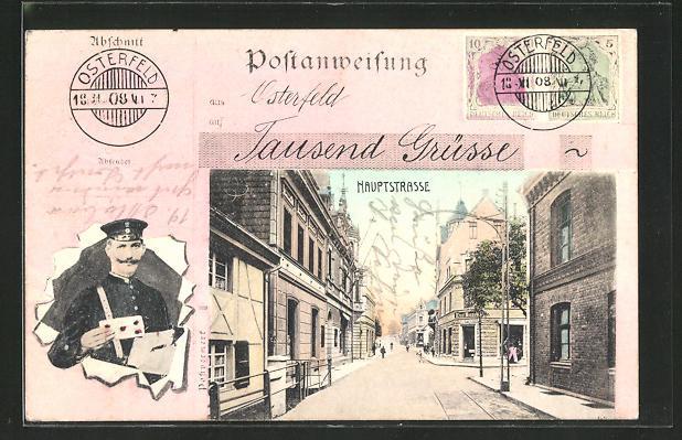 AK Osterfeld, Briefträger mit Liebesbrief, Blick in die Hauptstrasse 0