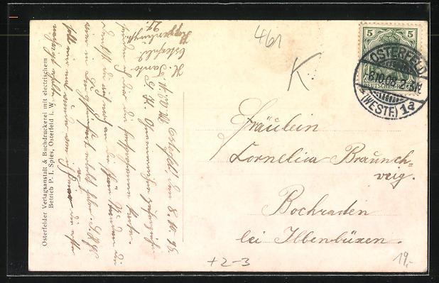 AK Osterfeld, Briefträger mit Liebesbrief, Blick in die Hauptstrasse 1