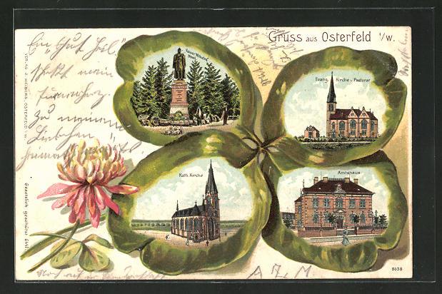 Passepartout-Lithographie Osterfeld i. W., Kaiser Wilhelm Denkmal, Kirche und Amtshaus im Kleeblatt 0