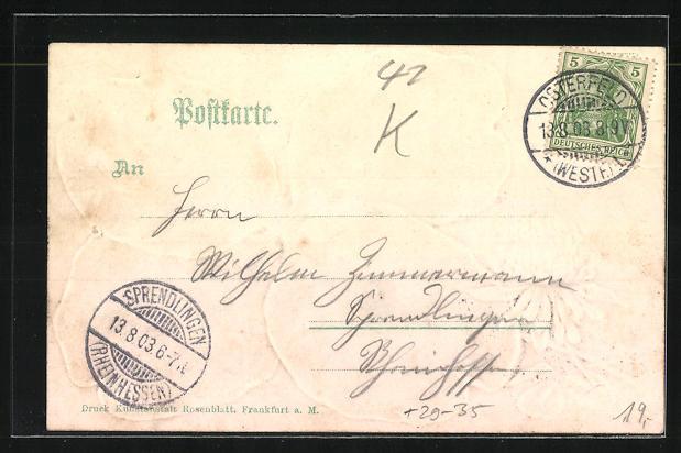 Passepartout-Lithographie Osterfeld i. W., Kaiser Wilhelm Denkmal, Kirche und Amtshaus im Kleeblatt 1