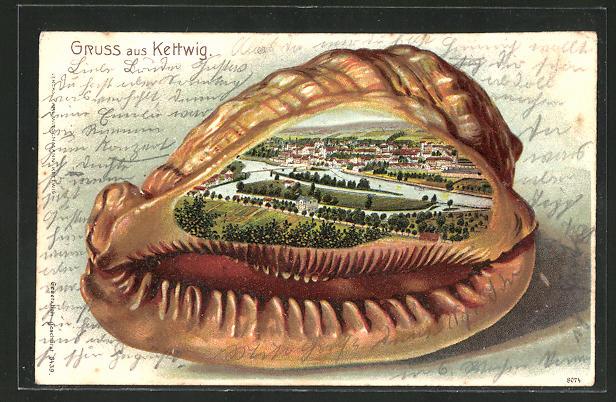 Passepartout-Lithographie Kettwig, Ortsansicht in der Muschel 0