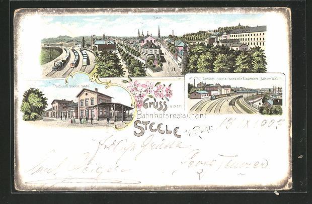 Lithographie Steele a. d. Ruhr, Blick auf Bahnhof Steele-Nord und Eisenwerk