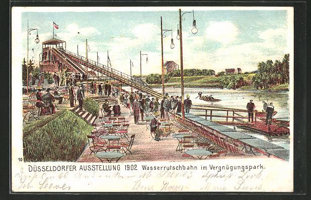 Lithographie Düsseldorf, Ausstellung 1902, Wasserrutschbahn im Vergnügungspark 0