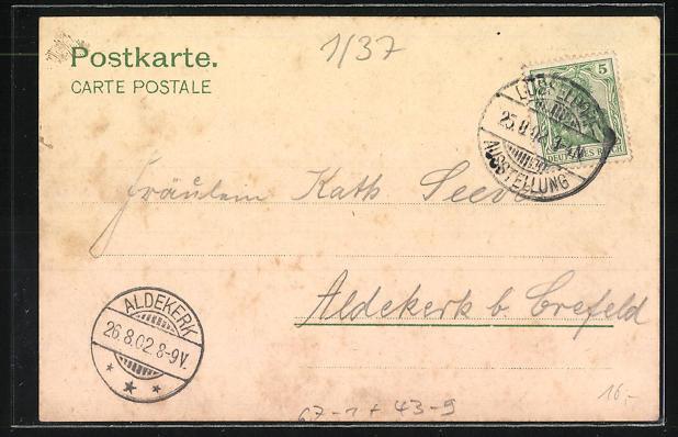 Lithographie Düsseldorf, Ausstellung 1902, Wasserrutschbahn im Vergnügungspark 1