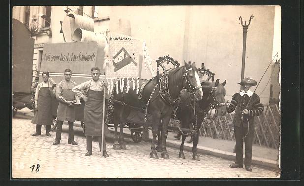 AK Tischler mit Pferdewagen, Festzug
