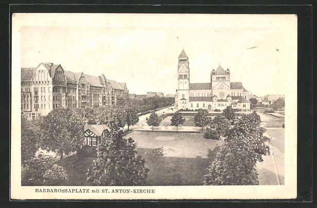 AK Düsseldorf, Barbarossaplatz mit St. Anton-Kirche 0